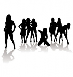 sexy silhouette women vector image