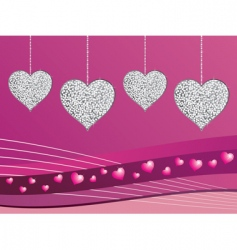 Silver glitter love hearts vector