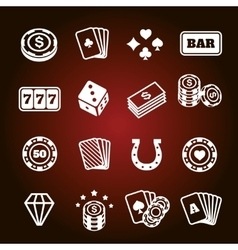 Simple set of gambling related icons vector
