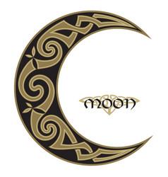 Spiral celtic moon horned moon design vector