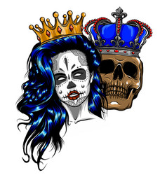 Tattoo king and queen death portrait a vector