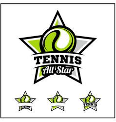 Tennis ball all star badge logo vector