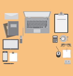 Top view office table vector