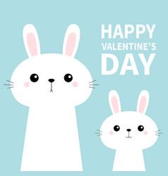 two rabbit bunny set in corner happy vector image