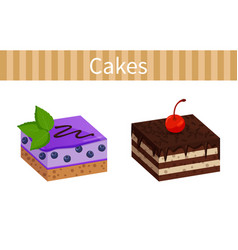 Two tasty cheesecakes posters vector