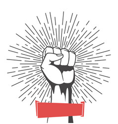 winner raised fist with rays on white background vector image