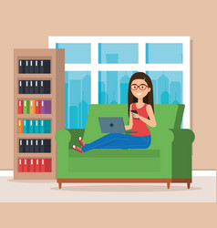 woman with laptop in the library scene vector image