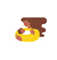 Young african-american woman hugging and cuddling vector
