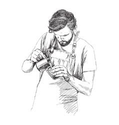 Young barista man in pencil vector