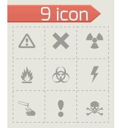 black danger icon set vector image