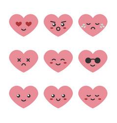 cute cartoon pink heart character emoji vector image vector image