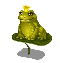 Green frog with gold crown sitting on large leaf vector image