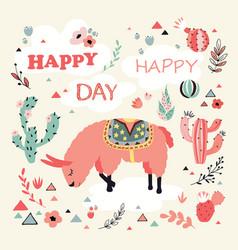 happy lama card vector image