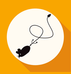icon mouse on white circle with a long shadow vector image vector image