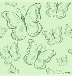 seamless pattern with butterfly green butterfly vector image vector image