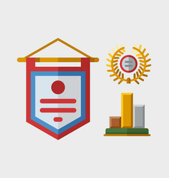 trophy champion flag flat icon winner gold vector image vector image