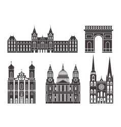 Western europe european buildings on white vector
