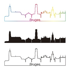 Bruges skyline linear style with rainbow vector image vector image