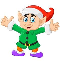 Cartoon Christmas Elf waving with both hands vector image