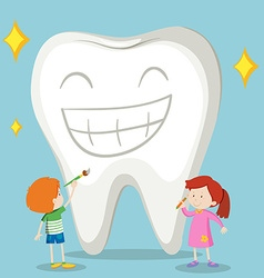 Children and clean tooth vector image vector image