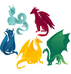 Flat colored dragons set vector