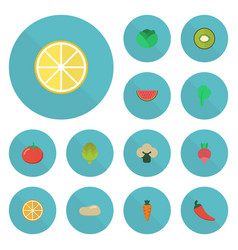 flat icons love apple root turnip and other vector image vector image