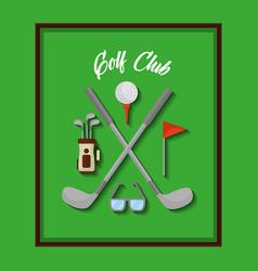 golf club equipment ball flag clubs bag vector image