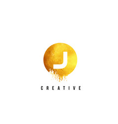 j gold letter logo design with round circular vector image vector image