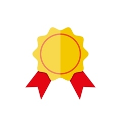 Yellow bank stamp icon with red ribbons vector image