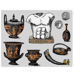 ancient greece antique symbols greek coins vector image