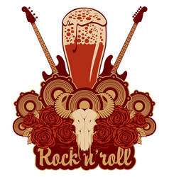 banner for a rock pub with hard live music vector image vector image