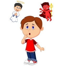 Cartoon boy confuse on choice between good and evi vector