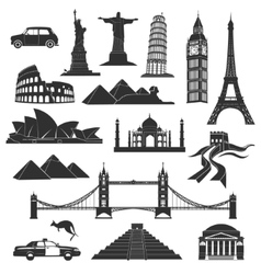 landmarks in black with elements vector image vector image