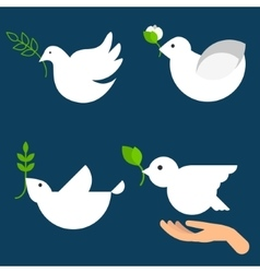 Peace dove icon set vector image vector image