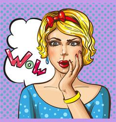 pop art wonder girl vector image vector image