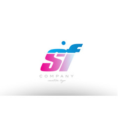 sf s f alphabet letter combination pink blue bold vector image vector image