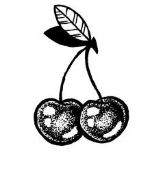Sketch of cherries dot work vector image