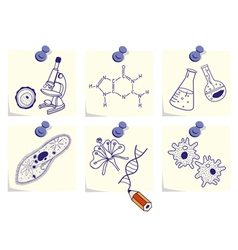 Biology on yellow memo sticks vector image vector image