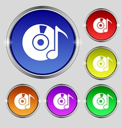 CD or DVD icon sign Round symbol on bright vector image vector image