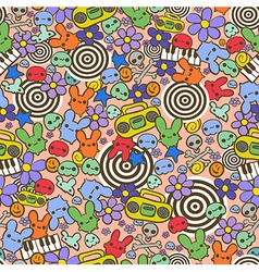 Hand drawn funny seamless pattern vector image