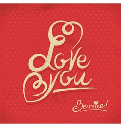 Happy Valentines Day Hand lettering in retro style vector image vector image