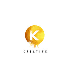 k gold letter logo design with round circular vector image