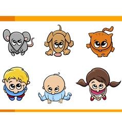 kids and pets cartoon set vector image vector image