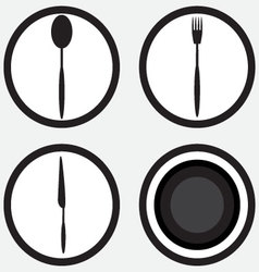 Set icon cutlery black white vector image
