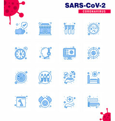 16 blue coronavirus disease and prevention icon vector