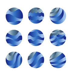 abstract isolated blue color ocean waves and sky vector image