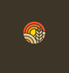 Abstract round logo sun field and ear vector