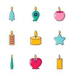Aroma candle icons set cartoon style vector
