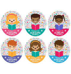 Awesome reading kids graphic set vector