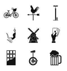 bicycle acrobat icons set simple style vector image